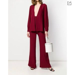 STAUD NWT Combined Blazer Jumpsuit in Red